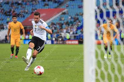 Julian Draxler of Germany scores their 2nd goal with a penalty