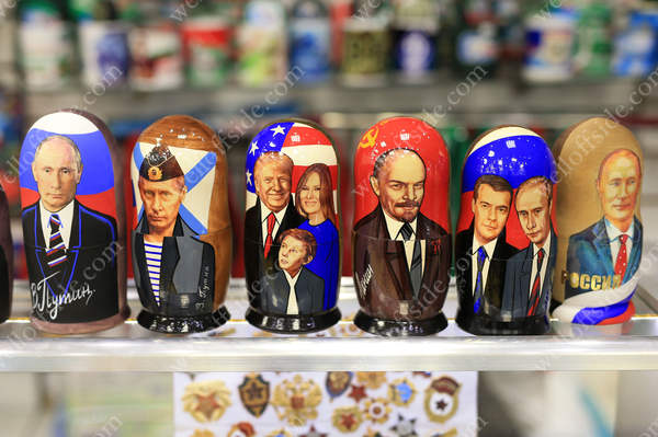Russian dolls featuring the faces of Russian President Vladimir Putin as well as Russian revolutionary Vladimir Lenin and American President Donald Trump