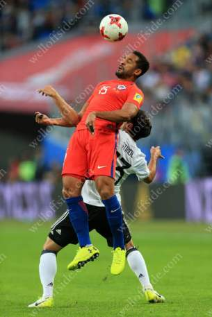 Jean Beausejour of Chile battles with Lars Stindl of Germany