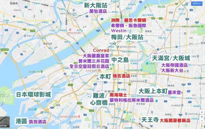 大阪連鎖酒店地圖
