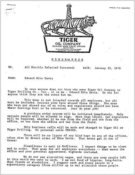 Tiger Oil Memos - Edward Mike Davis