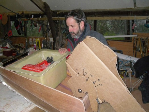 Sorting out the clearances with a cardboard engine shape