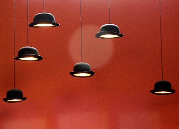 Bowler hat lamps in the jazz corner of Cafe Belgique, © Hornbeam Wildlife Studio