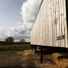 Slatted calf shed