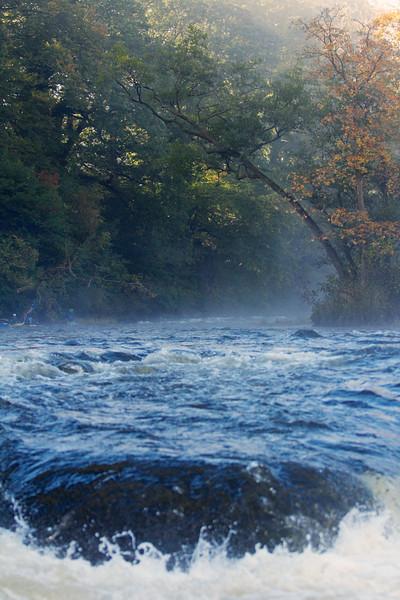 The River Usk near Llangynidr, Wales.