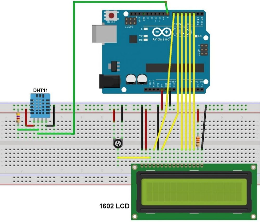 medium resolution of arduino dht11 sensor and lcd circuit