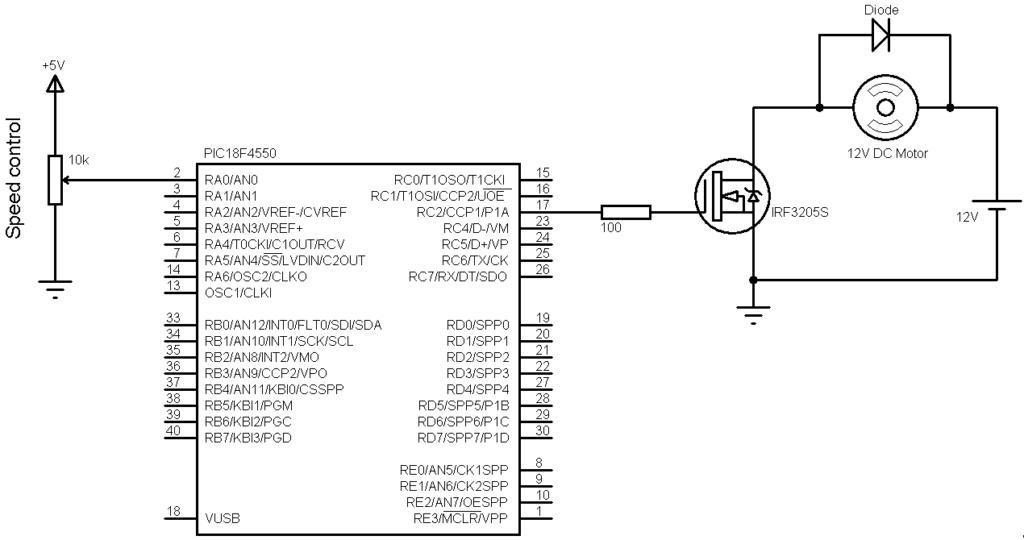 PIC18F4550 DC motor speed control circuit