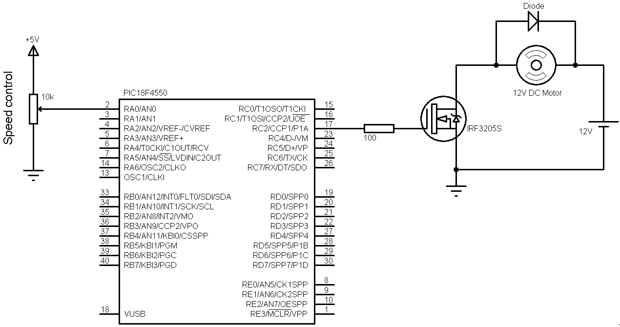 hight resolution of a3952s dc motor controller schematic circuit auto electrical dc motor speed control with pic18f4550 and ccs