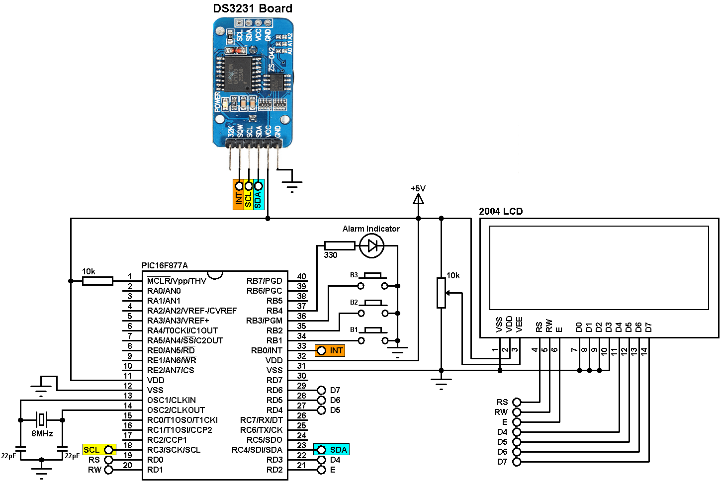 PIC16F877A + DS3231 with alarms and temperature monitor