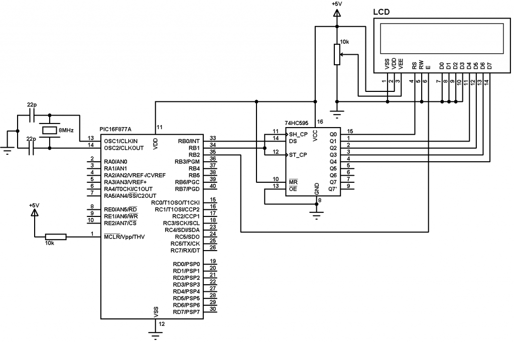 Interfacing PIC16F877A microcontroller with 3-wire LCD