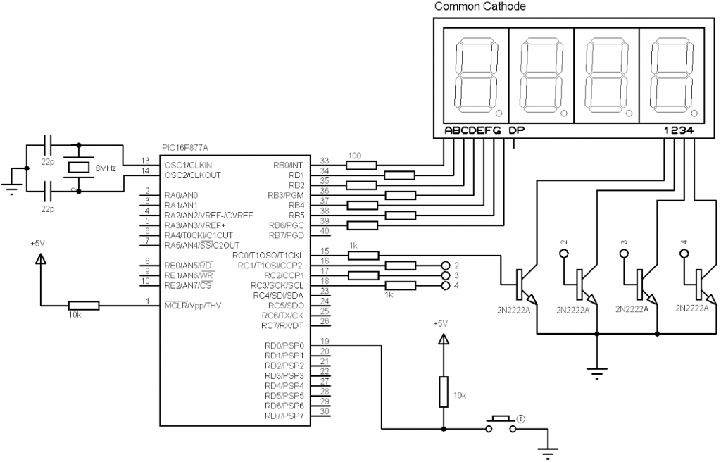 4-Digit digital counter using PIC16F877A and CCS C compiler
