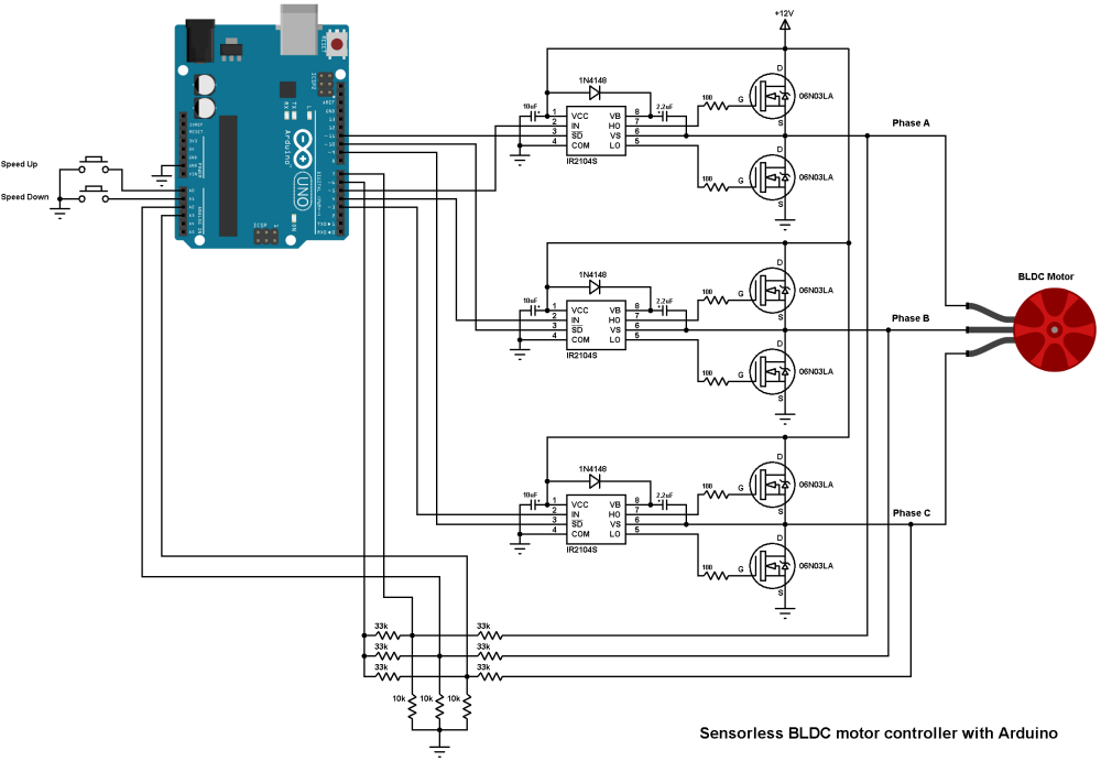 medium resolution of sensorless bldc motor control with arduino diy esc simple projects bldc 8 best images of 3 phase motor control circuit diagram 3 phase
