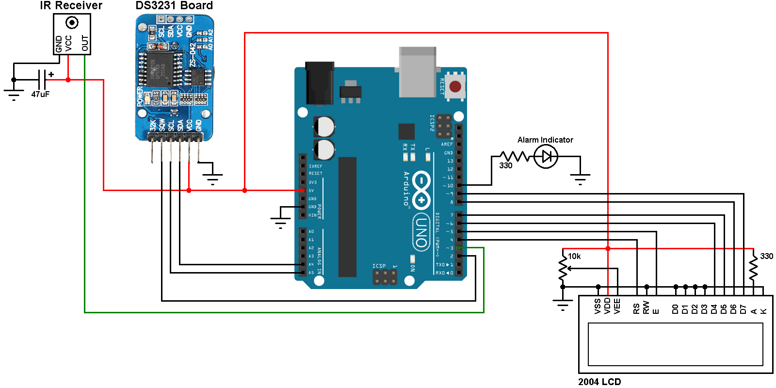 hight resolution of arduino with ds3231 real time clock calendar with alarms temperature monitor and remote control