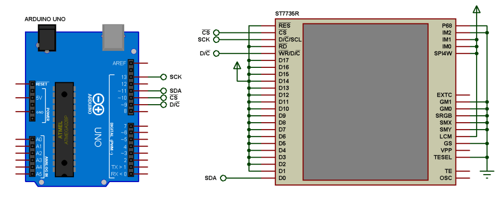 medium resolution of arduino and st7735r proteus simulation circuit