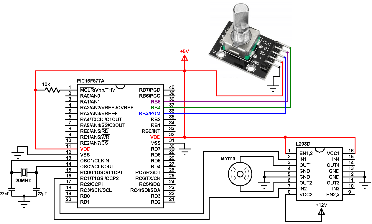 hight resolution of pic16f877a rotary encoder dc motor controller circuit