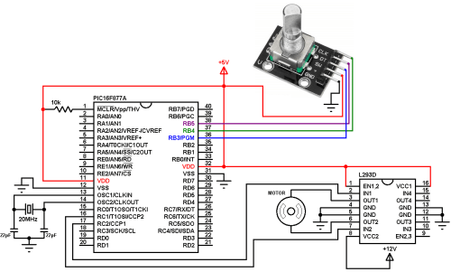 small resolution of pic16f877a rotary encoder dc motor controller circuit