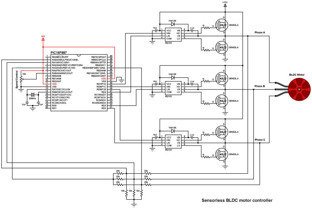 medium resolution of brushless dc motor control with pic16f887 microcontroller brushless dc motor control circuit schematic using microchip pic16f877