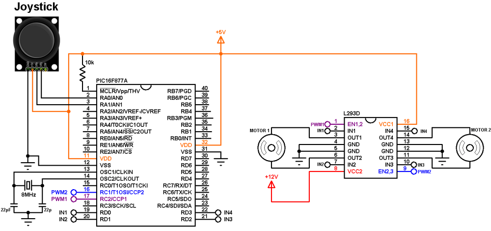 medium resolution of pic16f877a joystick controlled dc motor circuit