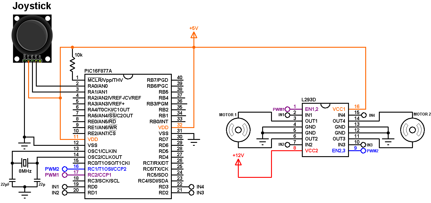 hight resolution of pic16f877a joystick controlled dc motor circuit