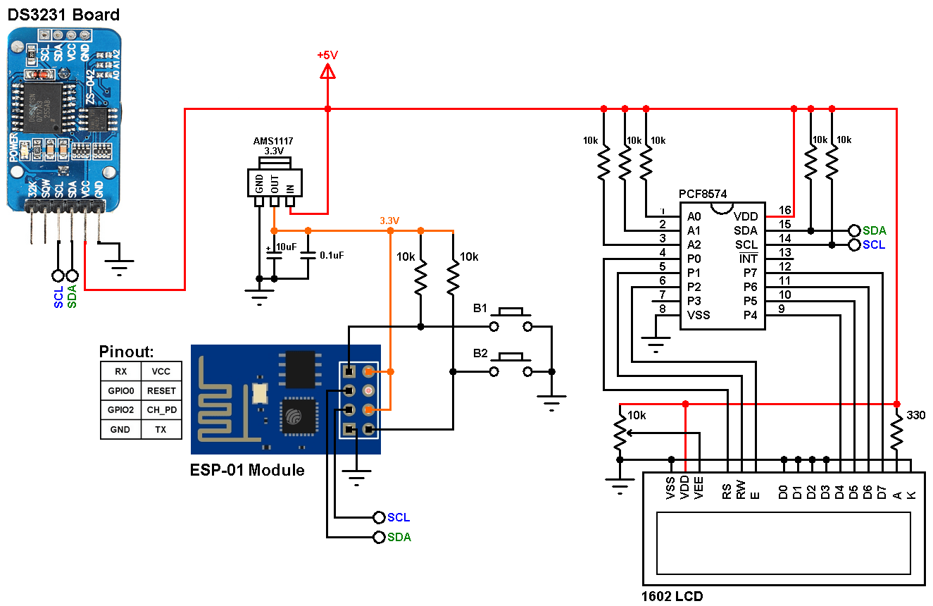 hight resolution of esp8266 esp 01 ds3231 rtc ds1307 rtc i2c lcd push button circuit