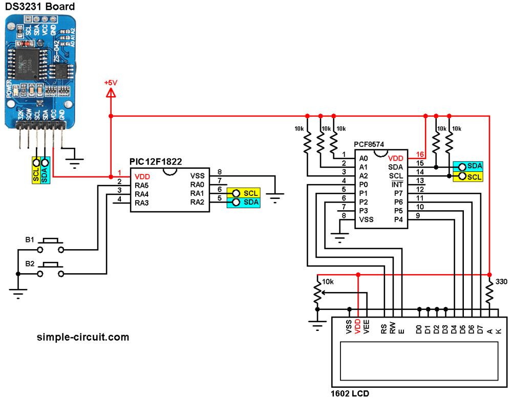 medium resolution of pic12f1822 ds3231 i2c lcd circuit