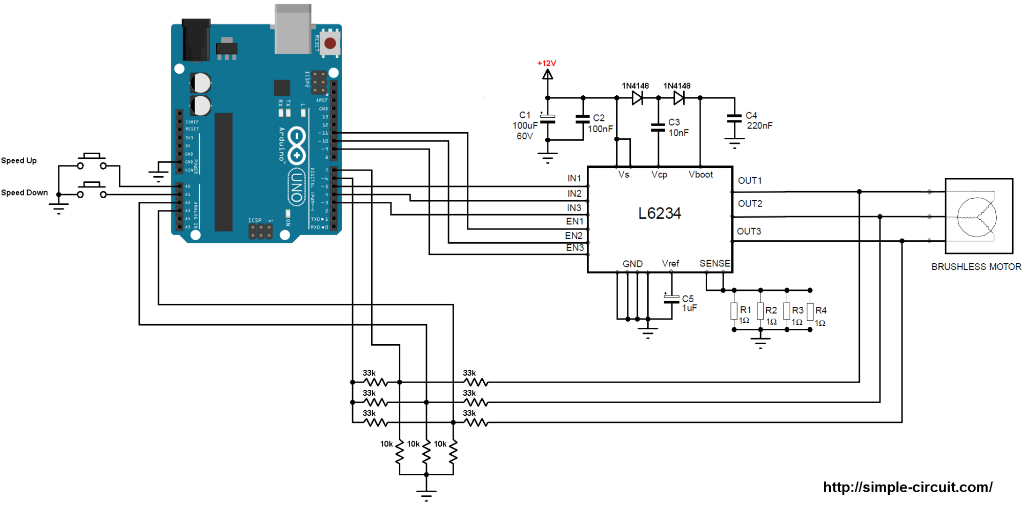 hight resolution of brushless dc motor control with arduino and l6234 driver simple