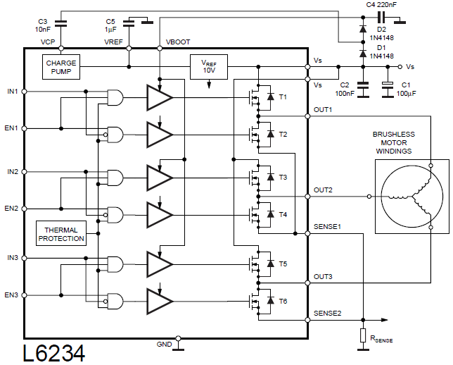 Brushless DC motor control with Arduino and L6234 driver