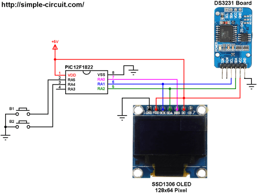 small resolution of pic12f1822 ds3231 ssd1306 real time clock with set buttons