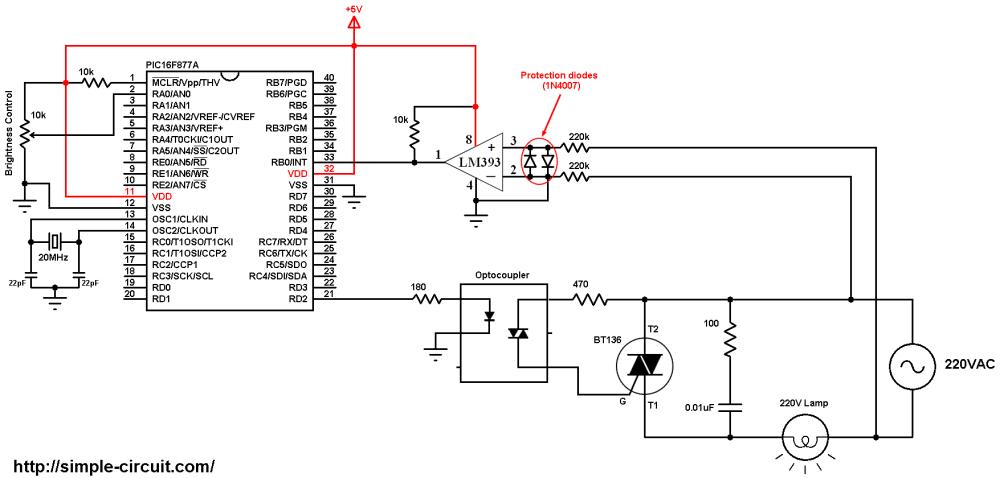 medium resolution of pic16f877a light dimmer bt136 triac 220v ac lamp