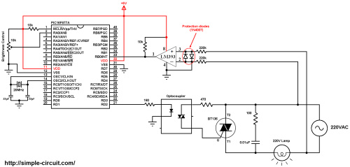 small resolution of pic16f877a light dimmer bt136 triac 220v ac lamp