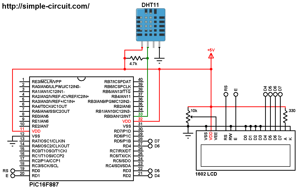hight resolution of pic microcontroller with dht11 sensor and lcd mplab xc8 dht11