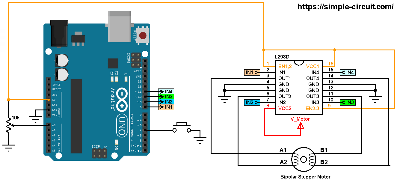 hight resolution of arduino stepper motor driver stepper motor driver circuit diagram wiring diagram for controlling multiple simple motor controllers with