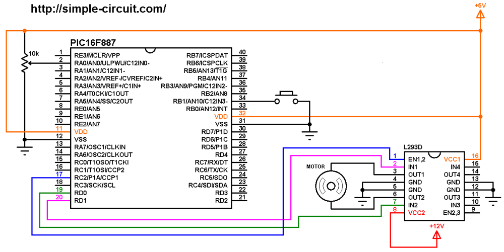 medium resolution of dc motor control circuit with pic16f887 and l293d