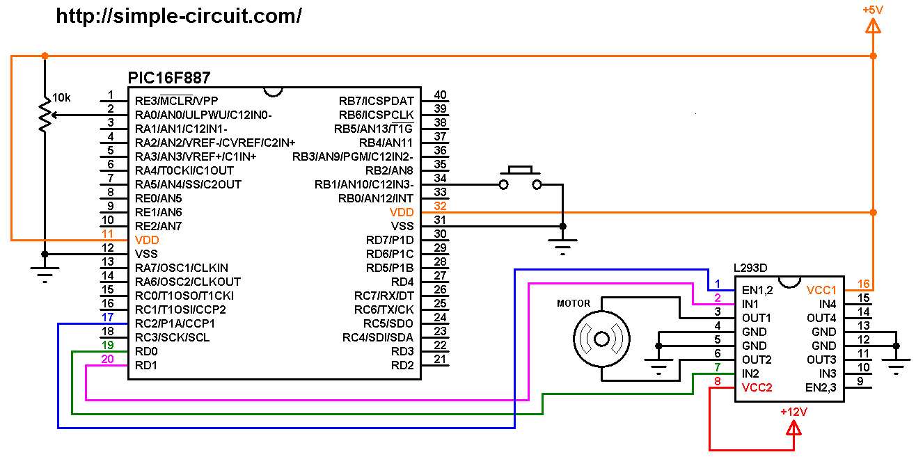 hight resolution of dc motor control circuit with pic16f887 and l293d