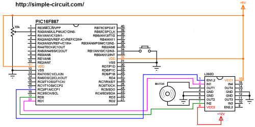 small resolution of dc motor control circuit with pic16f887 and l293d