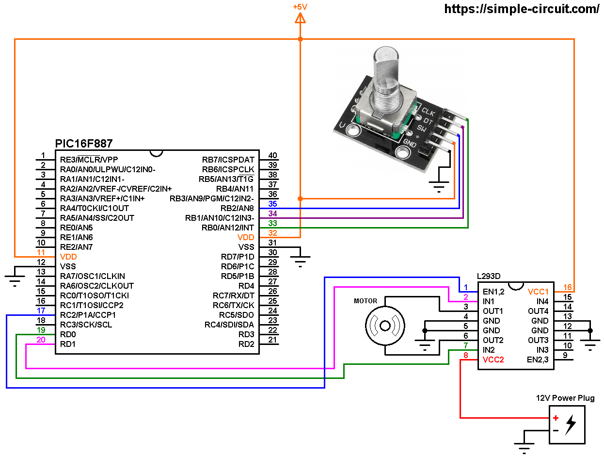 hight resolution of dc motor control with pic16f887 and rotary encoder circuit