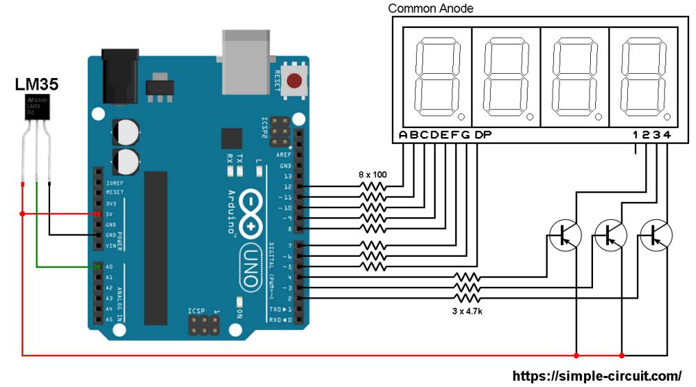 medium resolution of interfacing arduino with lm35 sensor and 7 segment display arduino 7 segment display on digital temperature sensor schematic