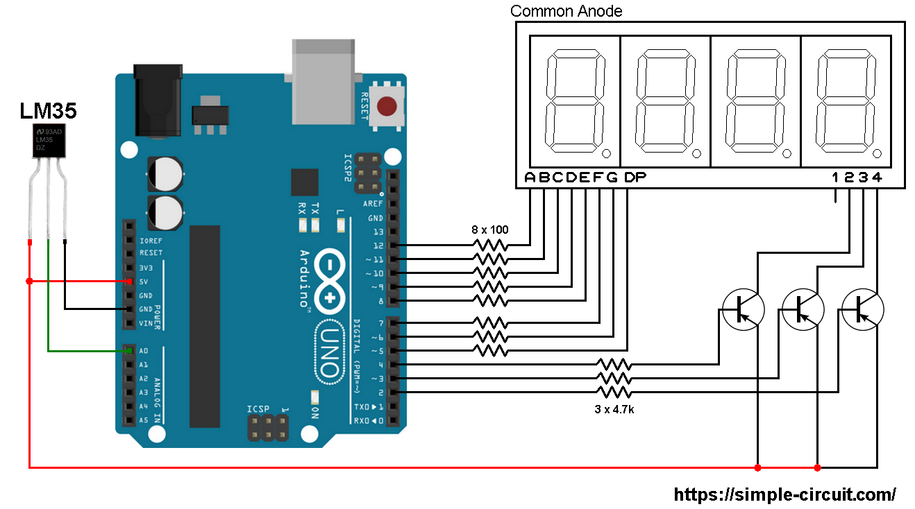 hight resolution of interfacing arduino with lm35 sensor and 7 segment display arduino 7 segment display on digital temperature sensor schematic