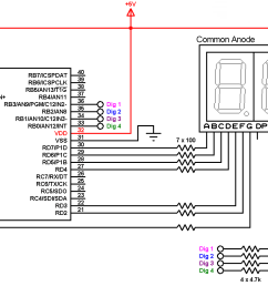 pic16f887 adc 7 segment display common anode circuit [ 1597 x 790 Pixel ]