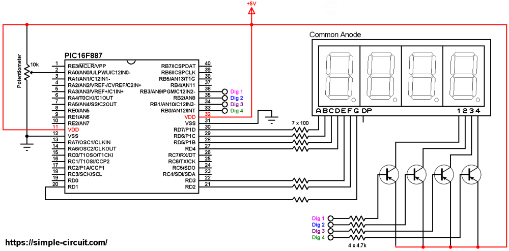medium resolution of pic16f887 adc 7 segment display common anode circuit