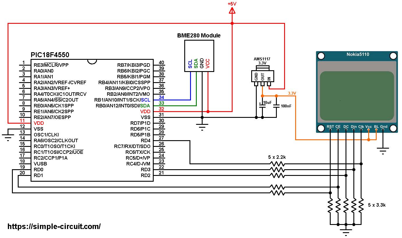 hight resolution of pic18f4550 bme280 i2c sensor nokia 5110 lcd circuit