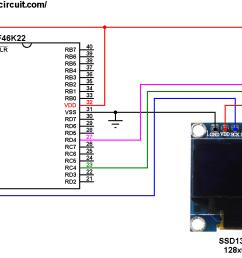 pic18f46k22 ssd1306 oled display i2c circuit [ 1070 x 743 Pixel ]