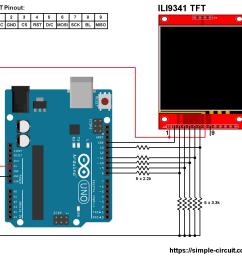arduino ili9341 color tft display interfacing circuit [ 1035 x 1010 Pixel ]