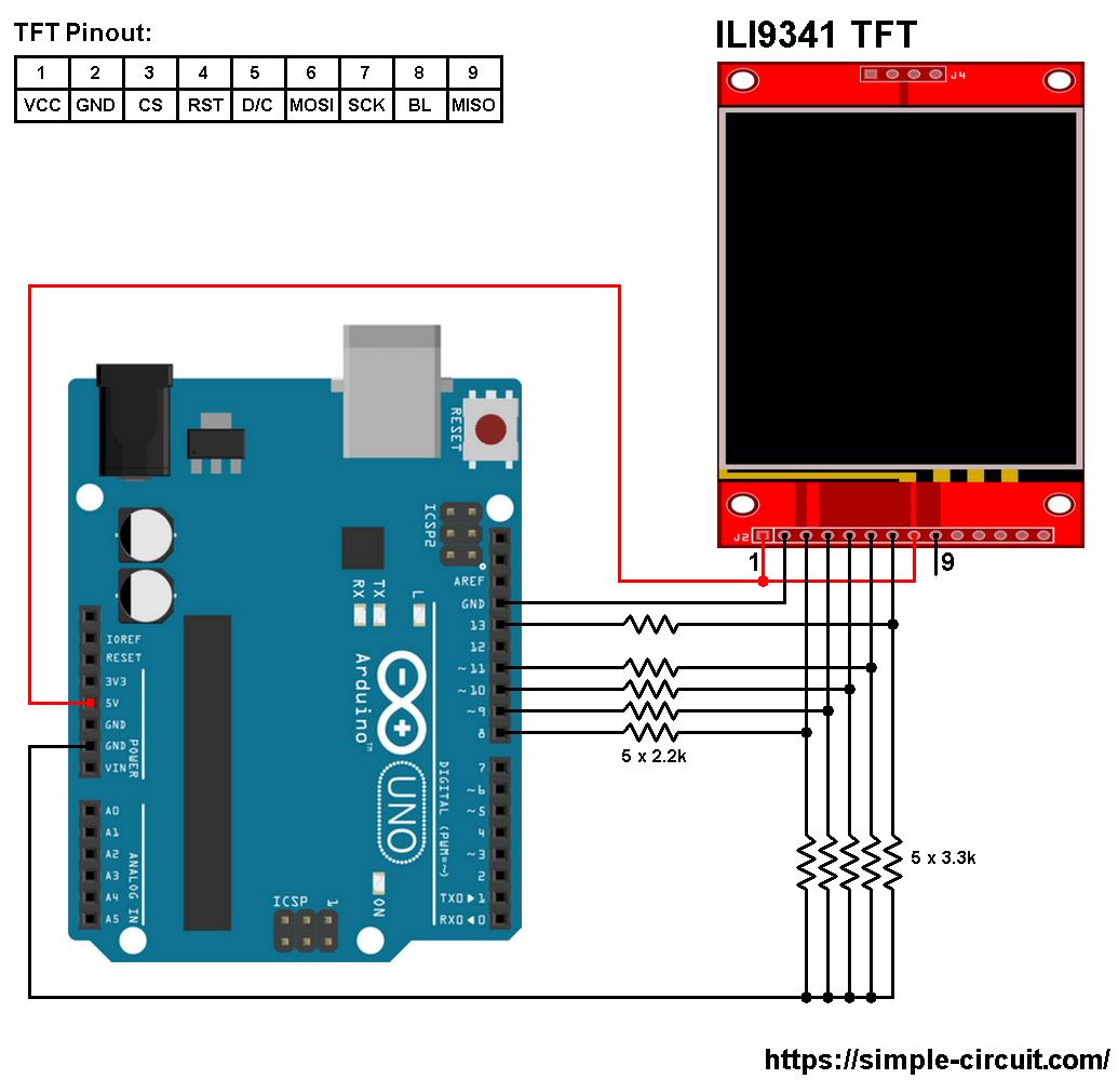 hight resolution of arduino ili9341 color tft display interfacing circuit