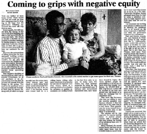 "Lindsay Cook Money Editor. ""Coming to grips with negative equity."" Times  24 Oct. 1992: 25"
