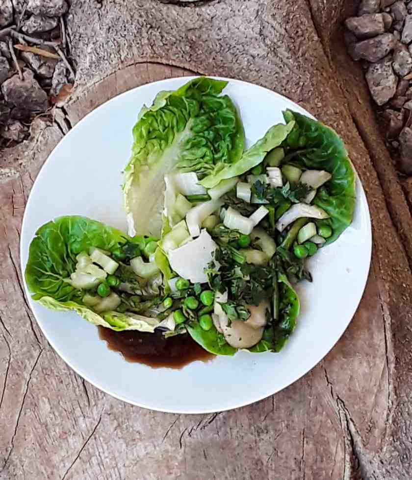 Crunchy Asian Green Salad with water chestnuts, celery, asparagus and green peas on white plate.
