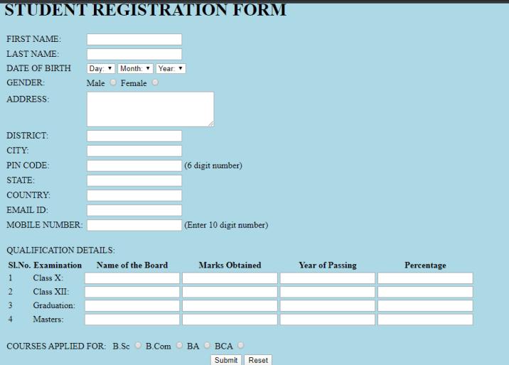 student registration form using html