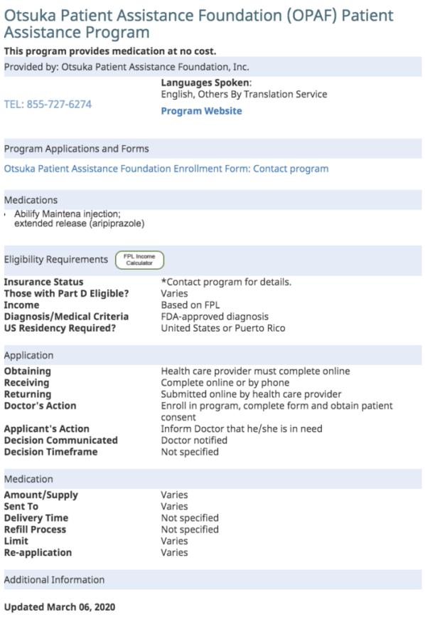 Abilify maintena Patient Assistance Program