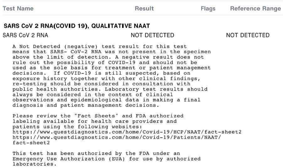 SARS CoV 2 RNA test results