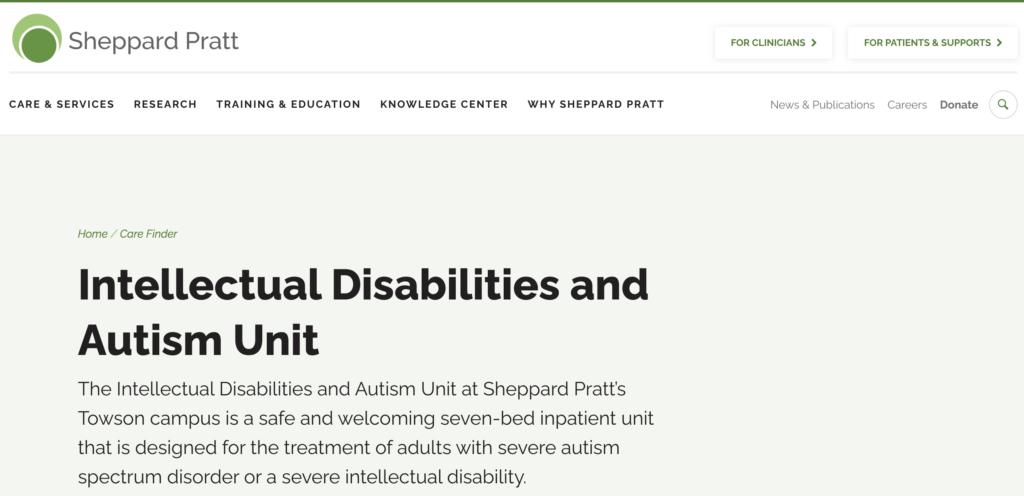 Sheppard Pratt-Intellectual disabilities and autism unit